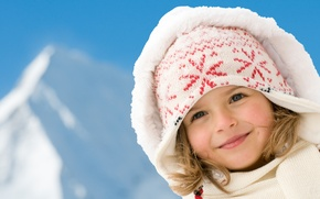 Picture winter, look, smile, hat, scarf, hood, girl, blush, gray-eyed