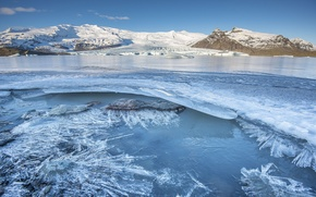 Picture winter, mountains, ice, Iceland, Iceland