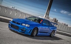 Picture Nissan, Blue, Skyline, R34