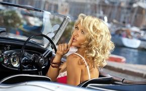 Picture auto, look, girl, sexy, model, yachts, boats, port, blonde, boats, posing, Adelina Tomhson, Tatiana Verevkina