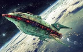 Picture Futurama, planet, Planet Express, ship company, green ship