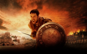 Picture City, Action, Sky, Fire, 2000, Wood, DreamWorks, Warrior, Gladiator, Wallpaper, War, Smoke, Colosseum, Rome, Maximus, ...