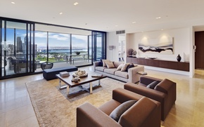 Picture design, the city, style, interior, penthouse, Sydney, living space