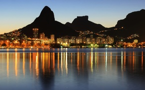 Picture sea, sunset, mountains, lights, coast, home, the evening, lights, Brazil, Rio de Janeiro, Rio de ...
