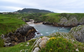 Picture nature, mountain, houses, Spain, Spain, water., Cantabria, Cantabria