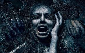 Picture cinema, girl, horror, panic, woman, movie, face, scream, cemetery, hair, death, fear, hands, film, teeth, …