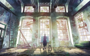 Picture light, the building, anime, art, chair, guy, easel, natsu3390