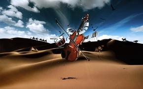 Picture desert, violin, keys, drum, Musical instruments