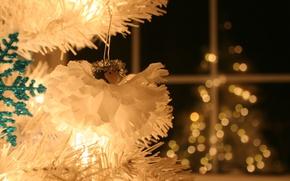 Wallpaper bokeh, happy new year, silver tree, backlight, holiday, Lita, decoration