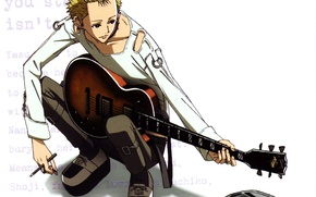 Picture guitar, piercing, white background, art, ai yazawa, Nan, nana, Nobuo Terashima