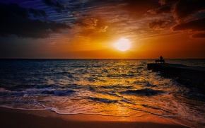 Picture sea, the sky, the sun, fisherman, pierce