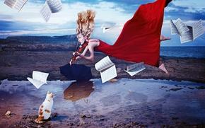Picture girl, notes, violin, levitation, Violin Concerto