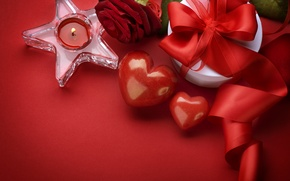 Wallpaper candle, gift, Valentine's day, hearts, Valentine's day, rose, valentines day, heart