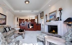 Picture design, photo, sofa, interior, TV, fireplace, living room