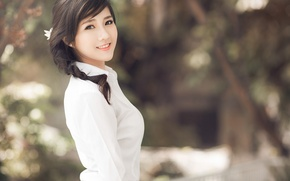 Picture girl, smile, Asian, in white