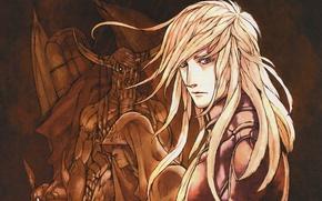 Picture monsters, hood, horns, guy, blonde, Toma, Aquarion, Otoha, long white hair, by Eiji Kaneda