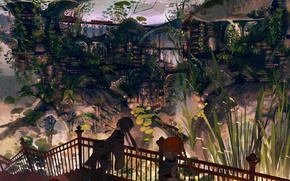 Picture the city, girls, home, fish, anime, art, flower
