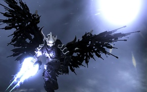 Picture light, weapons, wings, armor, helmet, cyborg, Halo Reach