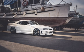 Picture Nissan, skyline, White, R35, Ships, GT