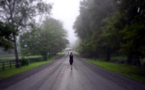 Picture ROAD, GIRL, RAIN, UMBRELLA