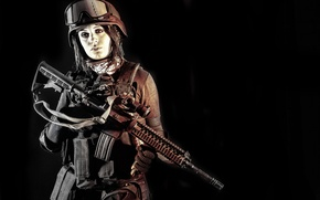 Picture girl, glasses, rifle, equipment, helmet, assault