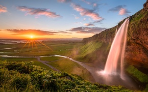 Picture the sun, rays, waterfall, Iceland