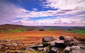 Wallpaper field, the sky, clouds, stones, hills
