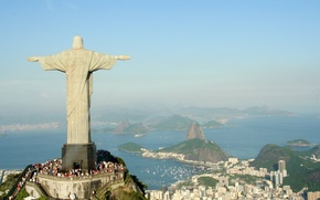 Picture the sky, Statue, panorama, Rio de Janeiro, Brazil, Cristo Redentor, Brasil, seaview, Rio de Janeiro, …