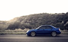 Picture hills, Subaru, Impreza, WRX, blue, blue, Subaru, Impreza