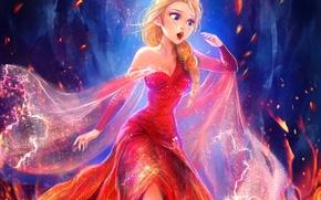 Picture fire, dress, Frozen, Queen, disney, Snow Queen, elsa