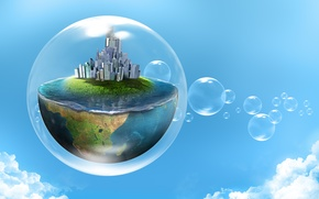 Wallpaper the sky, water, clouds, the city, creative, half, planet, bubble