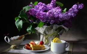 Wallpaper flowers, the dark background, napkin, lemon, Cup, sugar, waffles, still life, lilac, butterfly, Breakfast, strawberry