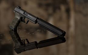 Wallpaper weapons, muffler, reflection, gun