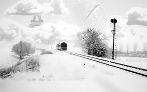 Wallpaper treatment, Train, rails, winter