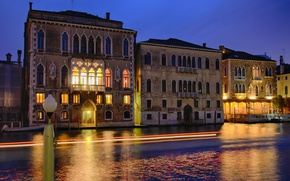 Picture night, lights, reflection, Italy, Venice, channel, Palace