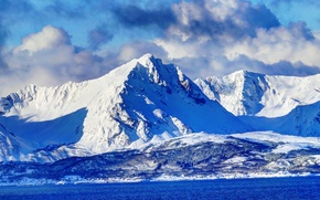 Picture winter, the sky, clouds, snow, mountains, panorama, Bay, Norway