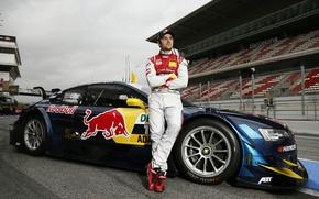 Picture asphalt, Audi, costume, drives, Green, racer, DTM, red bull, audi rs5 dtm 2013
