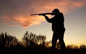 Picture Hunter, evening, shotgun