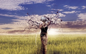 Picture girl, branches, nature, art, pitcher, Mother Earth