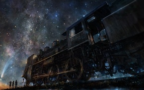 Picture night, people, train, art, starry sky, iy tujiki