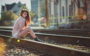 Picture Girl, Julia, Model, Hair, Sitting, Tracks