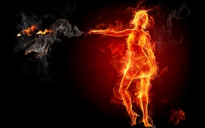 Picture girl, fire, flame, hot