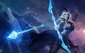Picture girl, magic, bow, art, arrow, Archer, League of Legends, ashe, frost archer