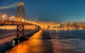 Picture night, the city, lights, CA, San Francisco, USA, the Bay bridge, by JonBauer