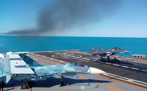 Picture Su-33, Navy, carrier-based fighter, landing on the deck, MiG-29KUB