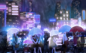 Picture the city, people, rain, umbrella, anime, mask, art, signs, guy, Tokyo ghoul, tokyo ghoul, Ken …