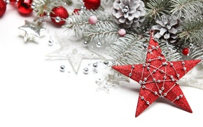 Picture toys, star, tree, spruce, branch, New Year, Christmas, decoration, Christmas, red, New Year, silver