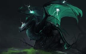 Picture look, green, fiction, zipper, dragon, wings, art