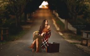 Picture road, girl, suitcase, Marta Belda
