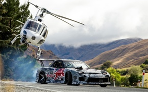 Picture Mountains, Drift, Mazda, Drift, Red Bull, Mountain, Helicopter, Helicopter, Mad Mike, Rx7, Rx-7